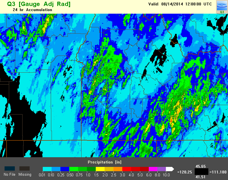 24 hour precipitation accumulation over southern Idaho and southeast Oregon.