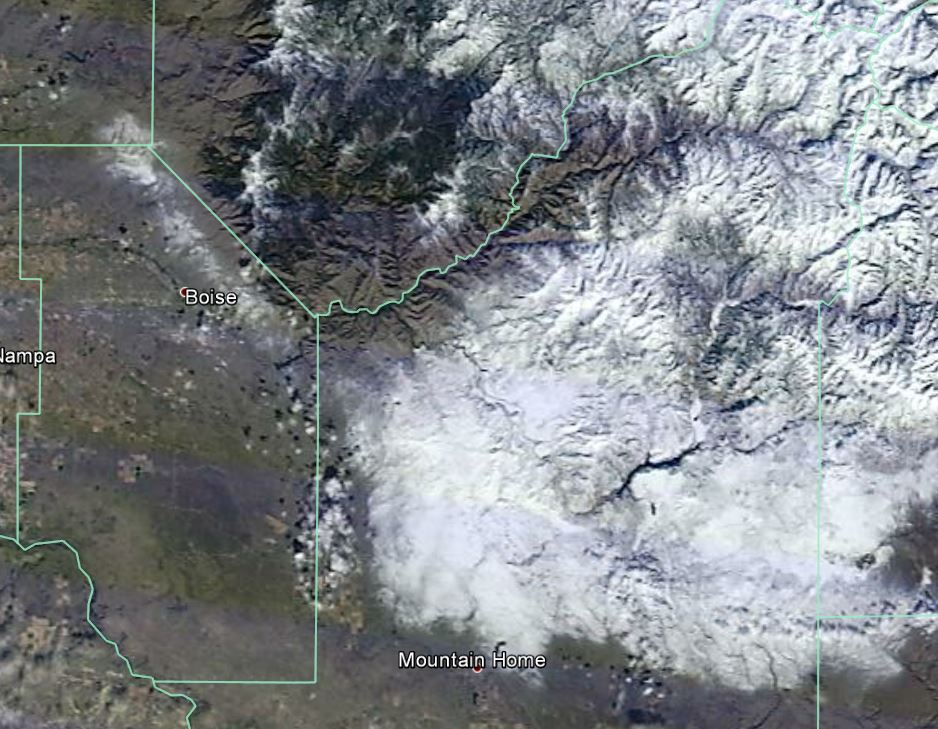MODIS Imagery showing snow cover on the afternoon of 2/22/2015
