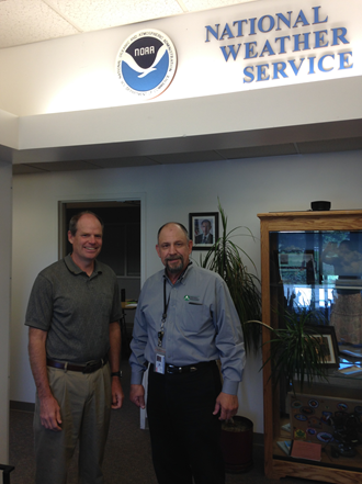 Crash Marusich (right), the Ada County Emergency Planner, with Jay Briedenbach (left), the NWS Boise Warning Coordination Meteorologist.