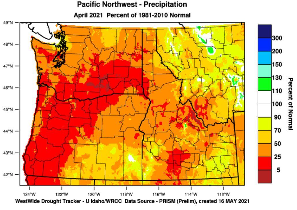 precipitation percent of normal April