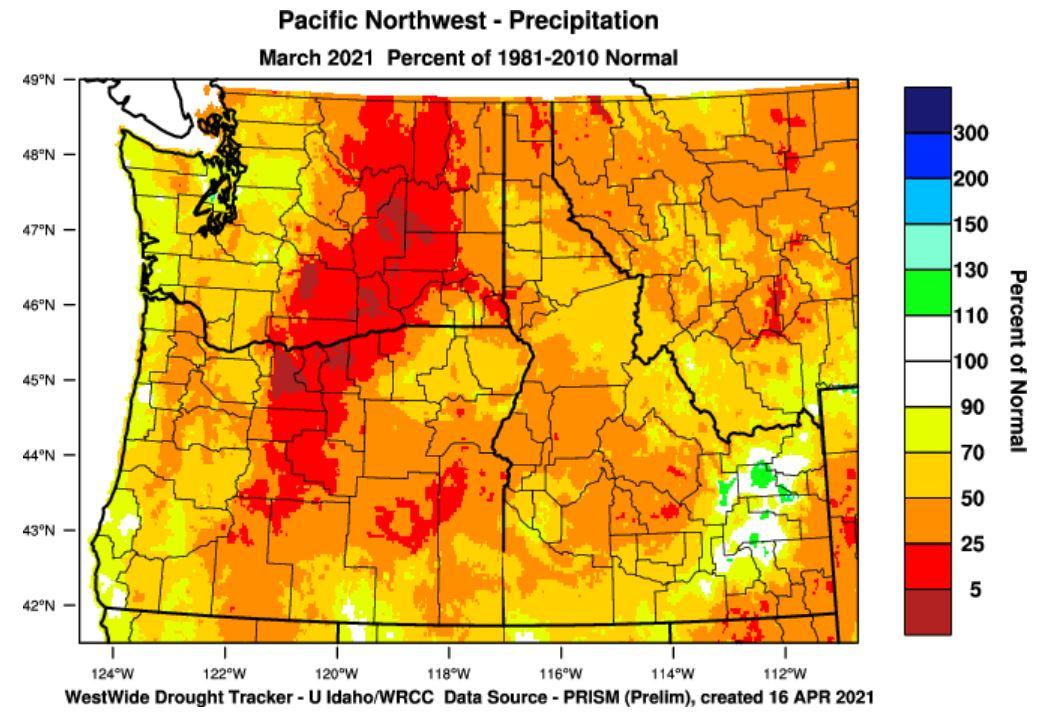 precipitation percent of normal March