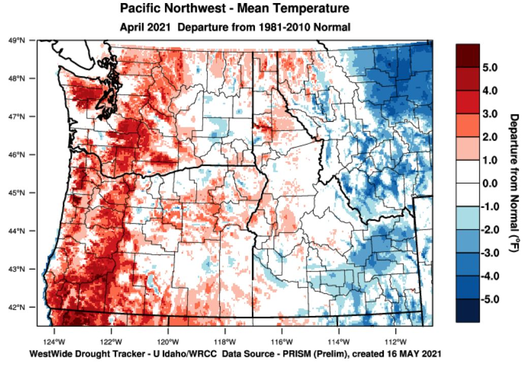 temperature departure from normal April