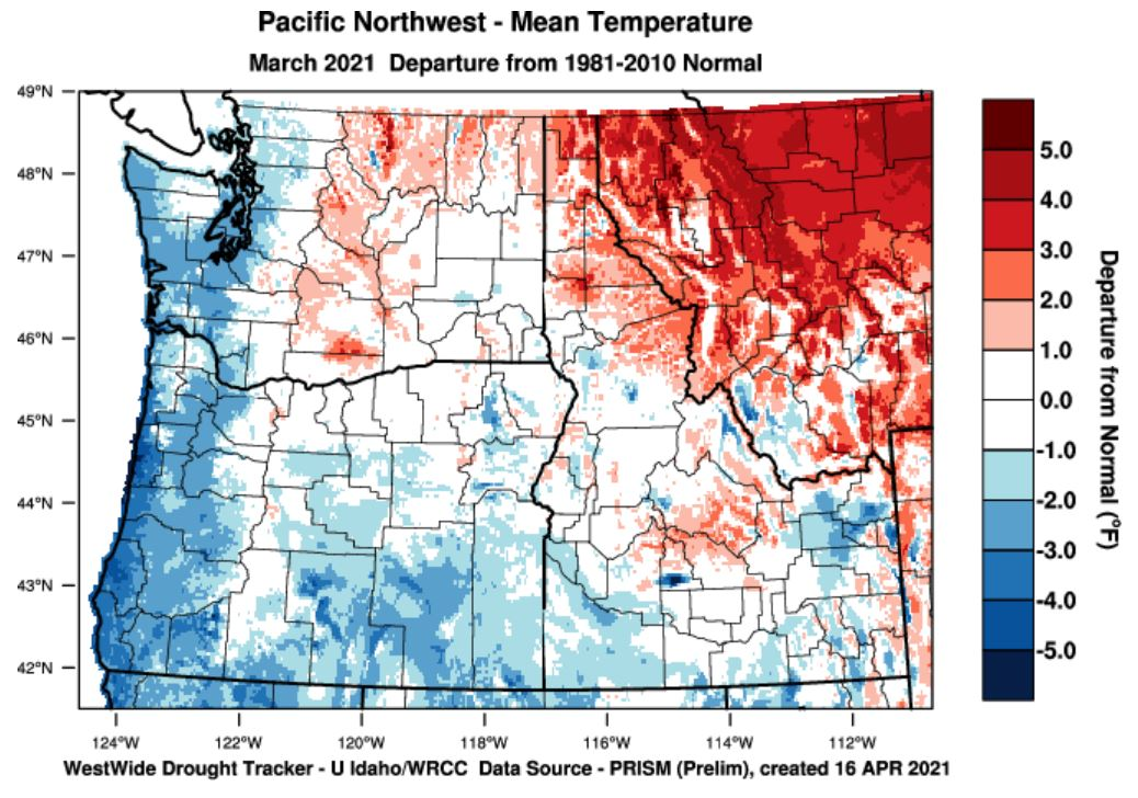 temperature departure from normal March