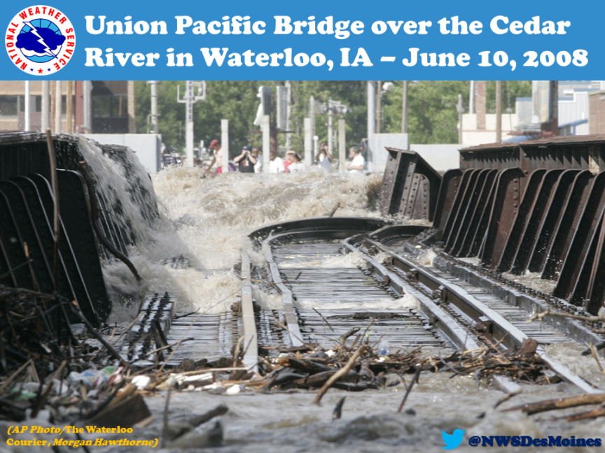 This is the Union Pacific Bridge over the Cedar River in Waterloo. The bridge was partially damaged by the record flooding back in June of 2008. The crest at Waterloo was 27.01 feet on June 11, 2008. Previous record was 21.86 feet on March 29, 1961.