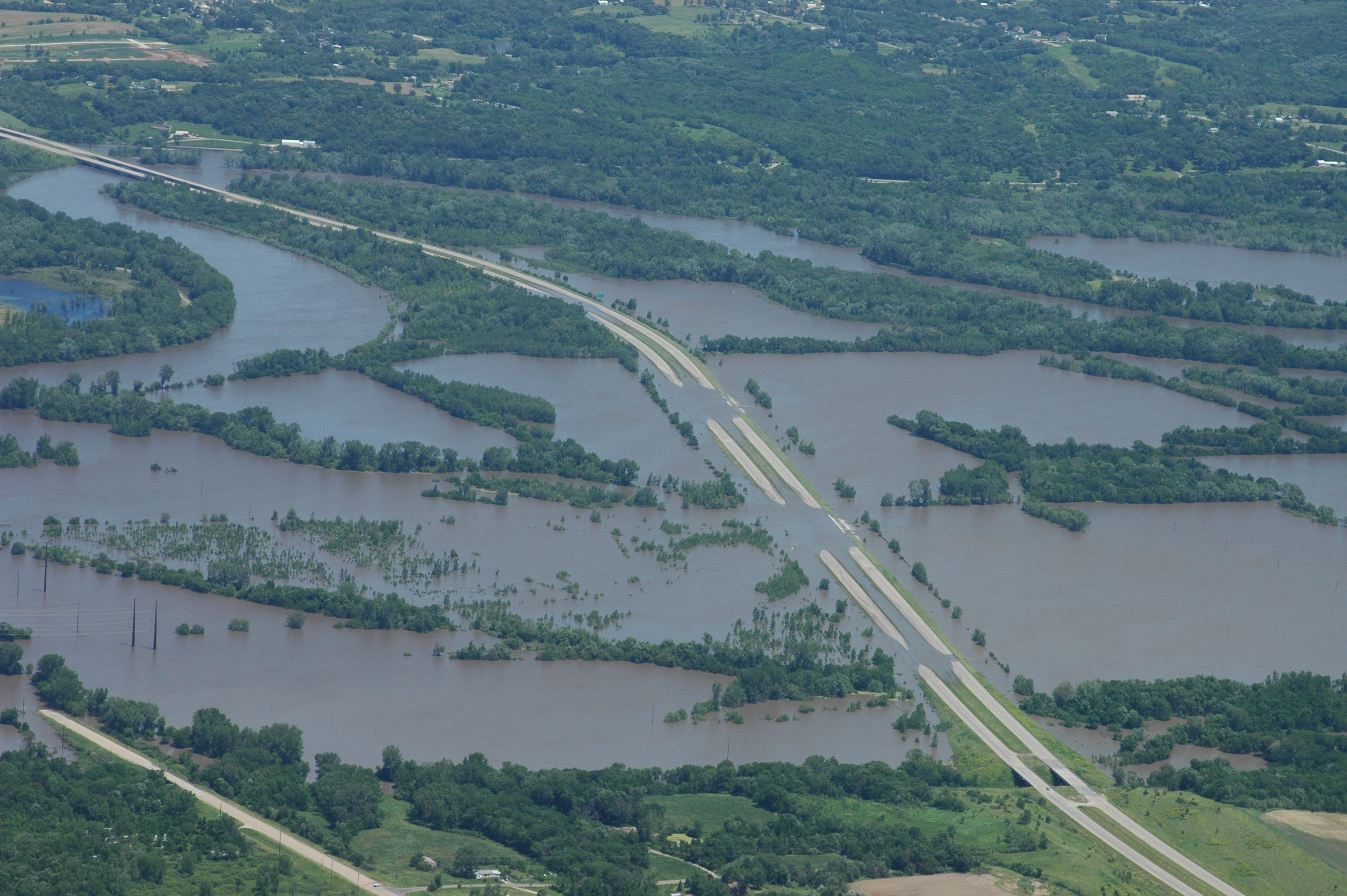 The Des Moines River over Highway 65 southeast of Des Moines on June 14, 2008. Photo courtesy of the Civil Air Patrol.