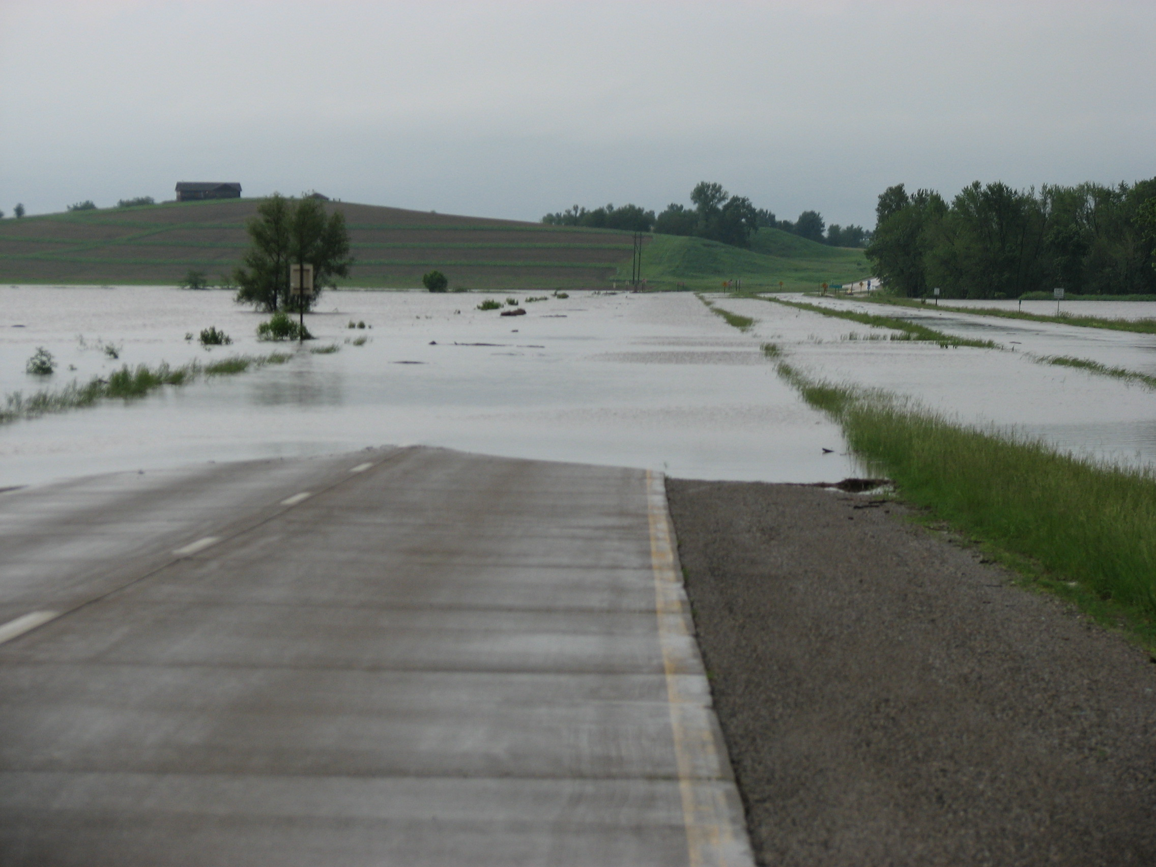Iowa River on Highway 14 just north of Marshalltown on June 8, 2008 at 6:43 p.m. CDT. Photo by Wayne Fass
