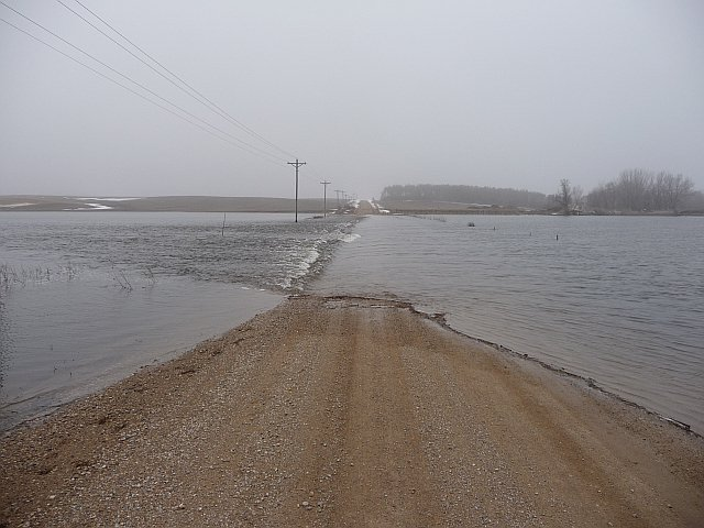 Iowa River at Rowan on March 16, 2010 along 200th street. Flood due to snow melt.