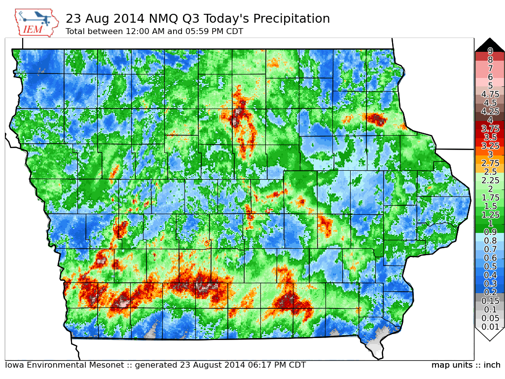 Q3 radar estimated rainfall from midnight to 6 pm CDT on August 23 ...