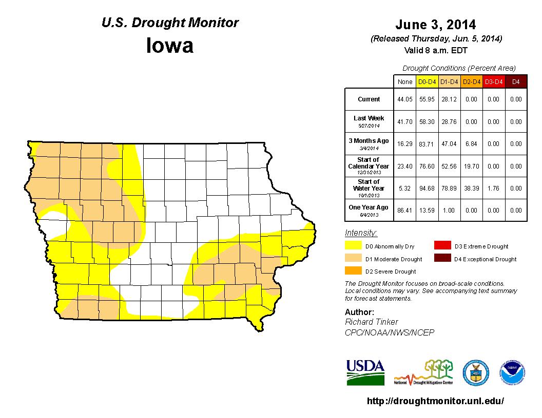 Figure 10: The U.S. Drought Monitor shows drought conditions had improved towards the end of May (right image). The greatest chance was over south-central and west-central Iowa where the heaviest rainfall accumulated.