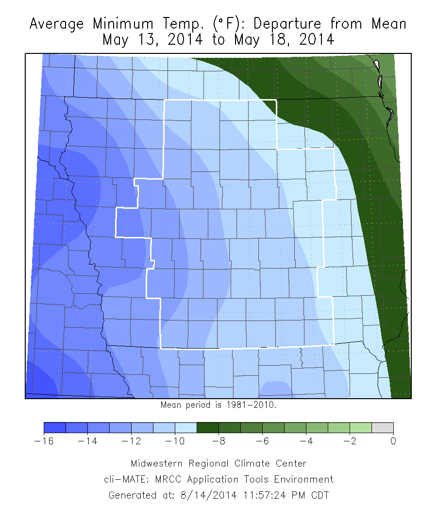 Figure 5: The Average Minimum Temperature departure from Mean from May 13 to May 18, 2014.