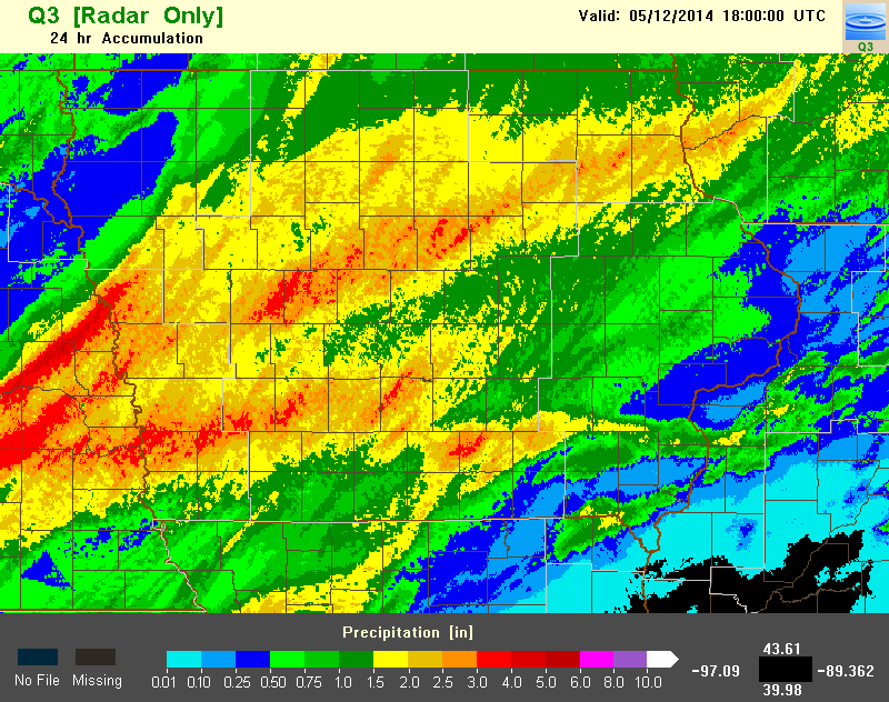 Figure 11: NMQ Q3 Estimated 24 hour precipitation accumulation ending at 18z on May 12, 2014. Several locations received 2 to 3 inches over a good portion of the Des Moines CWA.