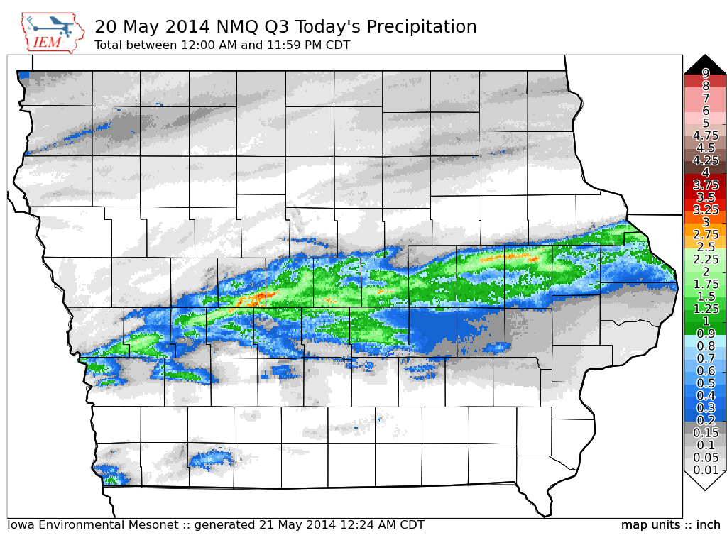 Figure 12: NMQ Q3 Total precipitation estimated 1 to 3 inches over portions of central Iowa on May 20, 2014. Ames recorded just over 3 inches from the heavy rain event. The U.S. Drought Monitor shows drought conditions had improved towards the end of May (right image). The greatest chance was over south-central and west-central Iowa where the heaviest rainfall accumulated.