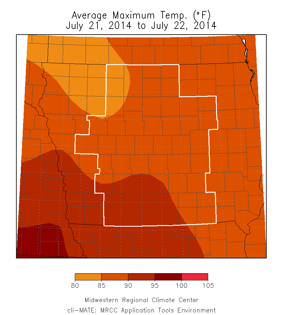 Figure 3: Average Maximum Temperatures for July 21-22, 2014. These were a couple of the hottest days of the month across central Iowa.
