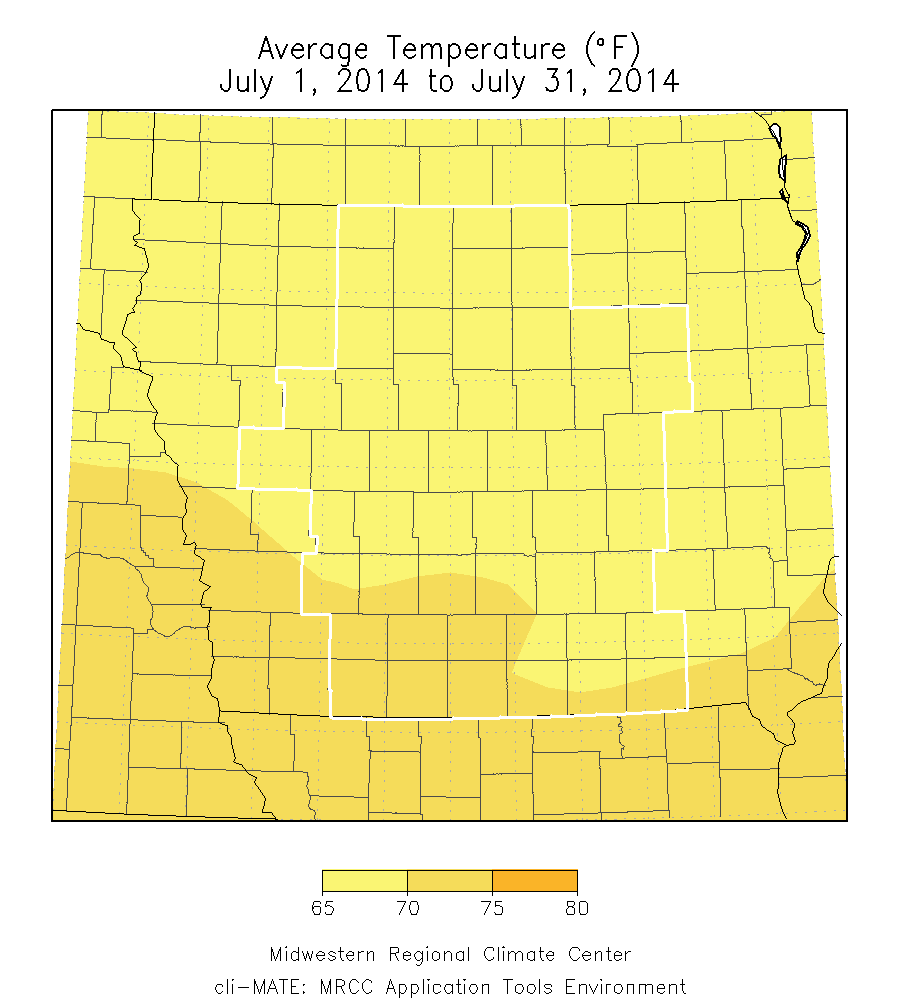 Figure 1: Average Temperature for the month of July 2014 was 69.0°F for the entire state, while the DMX CWA was 68.8°F