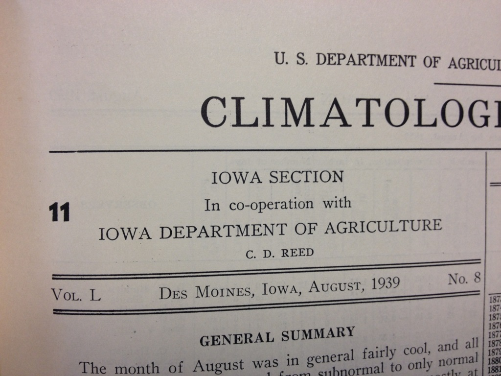 Figure 1a: C.D. Reed Author of the Iowa monthly climate review for August 1939.
