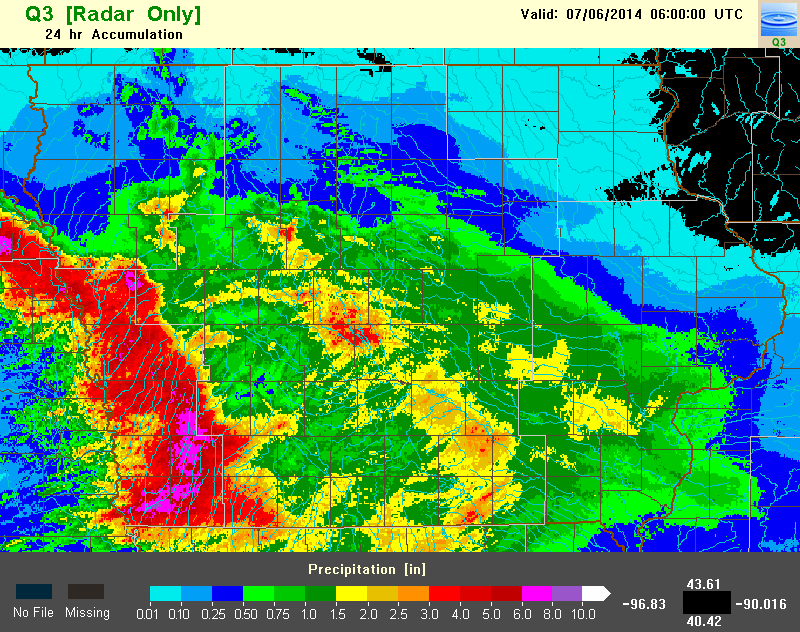 Figure 5: Q3 radar estimated precipitation for July 5, 2014.