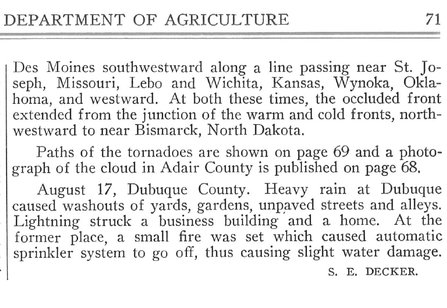 Figure 1b: S.E. Decker was the author of the damage survey or storm section in the Climatological Data: Iowa Section.