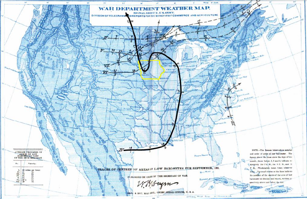 Figure 1: Highlighted track of the low pressure center from September 14-17, 1881.