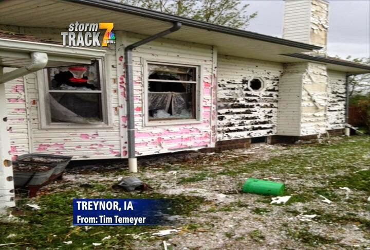 Figure 4: Significant wind-driven hail event occurred on June 3, 2014. This image from a resident in Treynor, IA had major damage to the siding and roof.