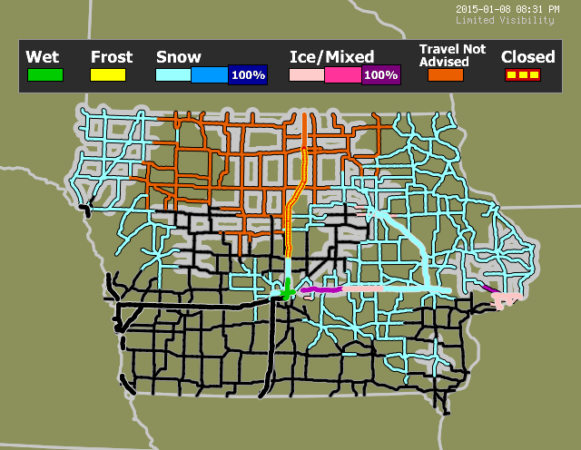 Road Conditions In Iowa Map.Iowa Travel Weather