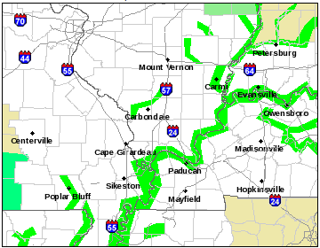 An example from the National Weather Service in Paducah, KY of the new River Flood Warning polygons in use.