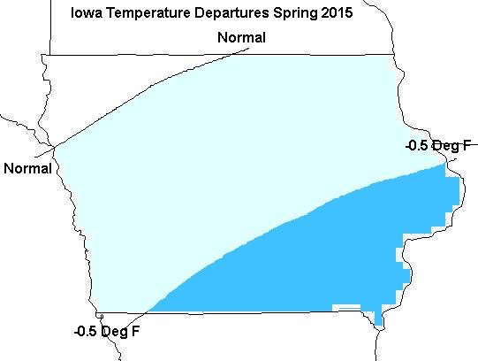 Figure 3: Mean Temperature (left) and Precipitation (right) departure for March of 2015 through May of 2015.