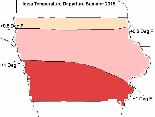 Figure 4a: Mean temperature departure forecast for June of 2015 through August of 2015.