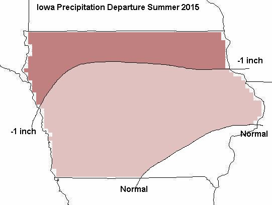 Figure 4a: Mean precipitation departure forecast for June of 2015 through August of 2015.