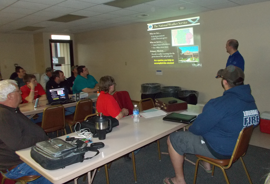 Meteorologist Rod Donavon presents spotter training in Arcadia, IA on March 16, 2015. Photo courtesy of Tom Reis.