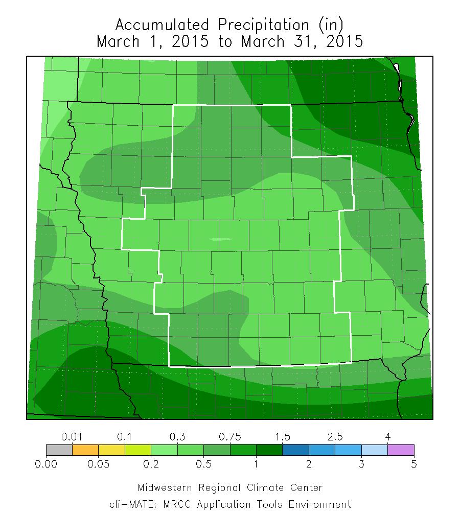 Figure 9: Accumulated precipitation March 2015.