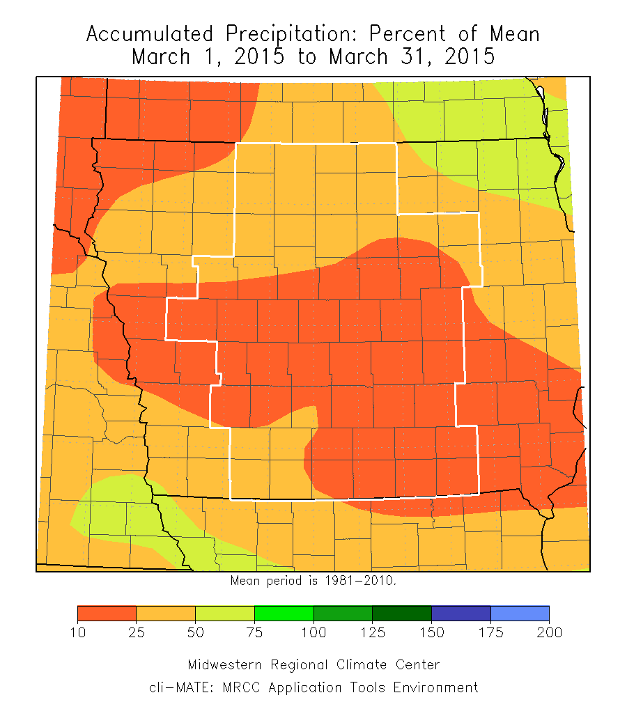 Figure 8: Average accumulated precipitation departure from mean from March 2015.