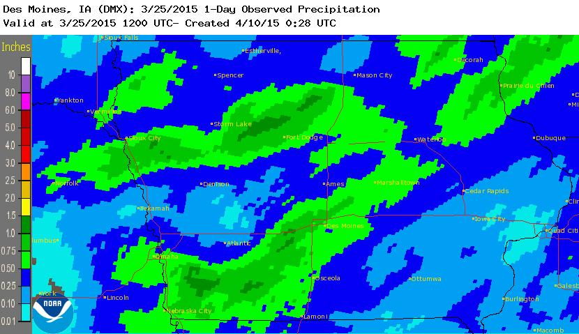 Figure 12: March 21, 2015 observed precipitation was the most widespread rainfall for the month.