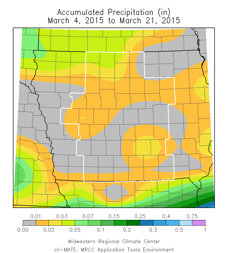 Figure 11: March 4 to 21, 2015 accumulated precipitation shows how sparse precipitation was during the middle portion of the month.