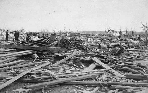 Sauk Rapids, MN after the devastating F4 tornado on April 14, 1886. Image courtesy Wikipedia.