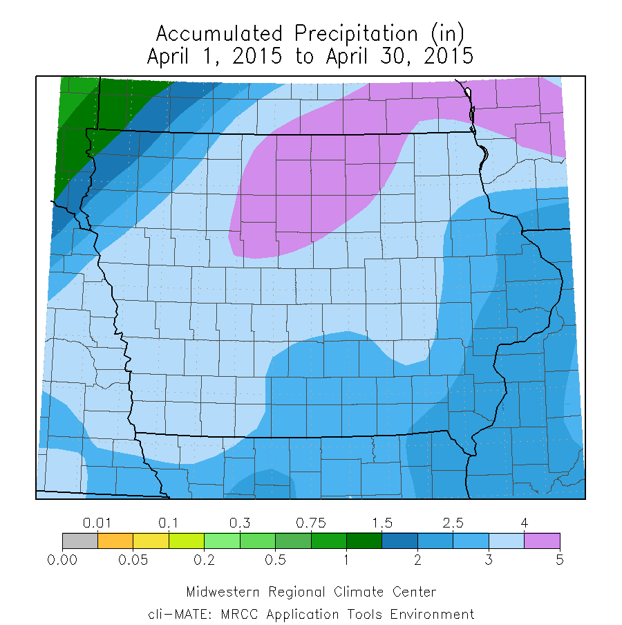 Figure 9: Accumulated precipitation for the month of April 2015.