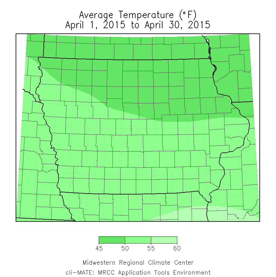 Figure 1: Average temperature for the month of April 2015 across Iowa.