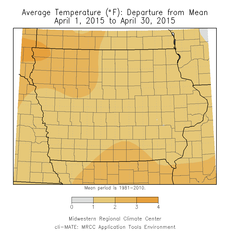 Figure 2: Average temperature departure from mean for the month of April 2015 across Iowa.