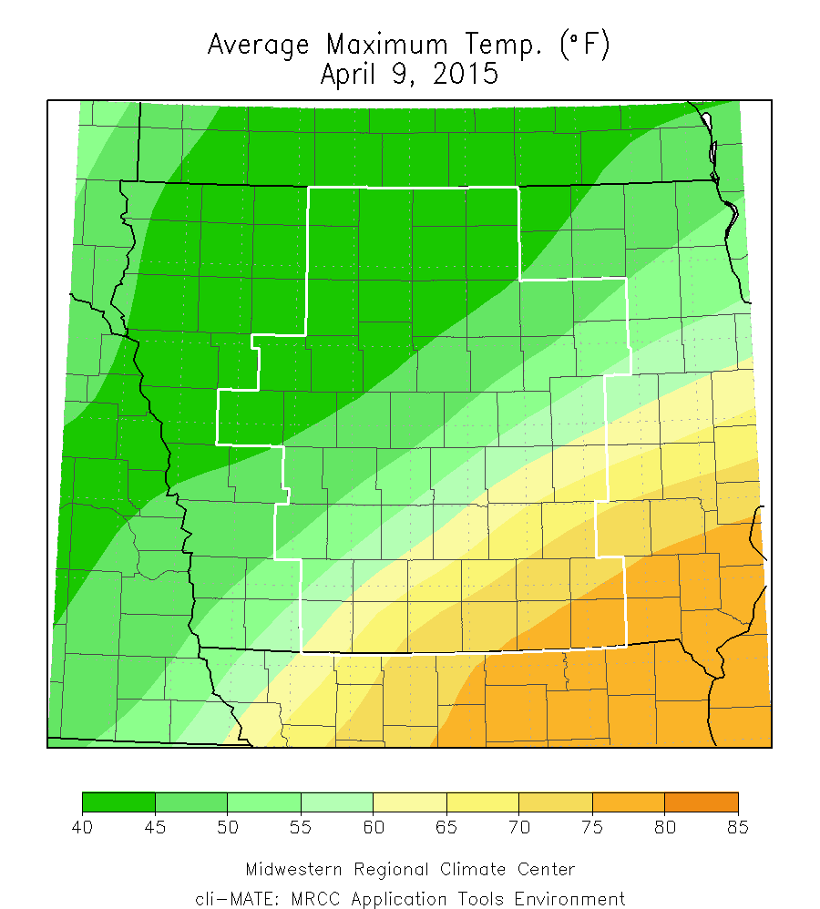 Figure 7: Average maximum temperature on April 9, 2015 ranged in the lower to middle 80s in southeast Iowa to the lower 40s over the northwest.