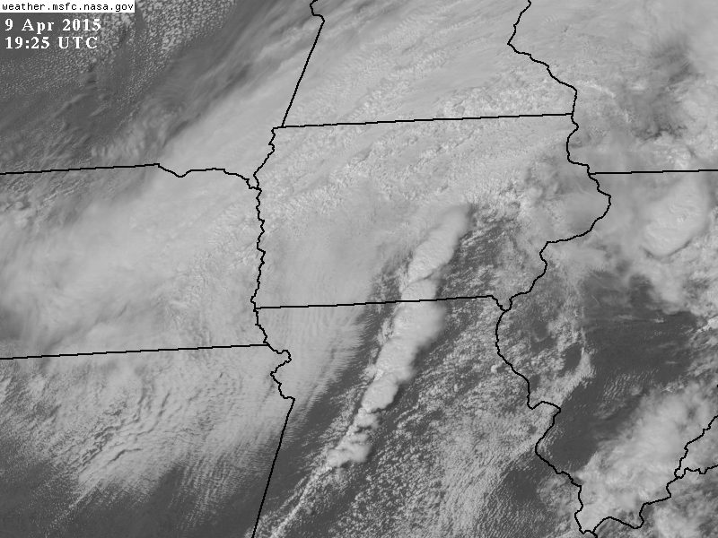 Visible Satellite image on April 9, 2015 depicts the ling of strong to severe thunderstorms developing over southeast Iowa and northern Missouri.