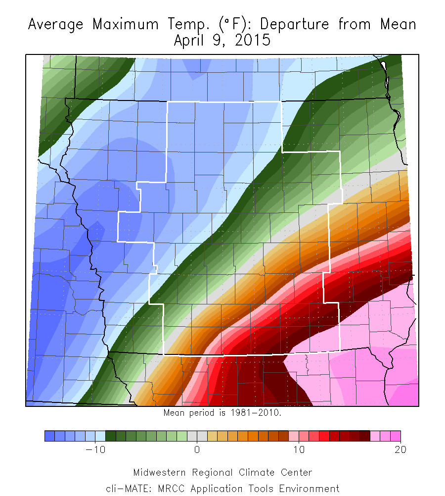 Figure 8: Average maximum temperature departure from mean on April 9, 2015 showed the sharp gradient in temperatures across Iowa.