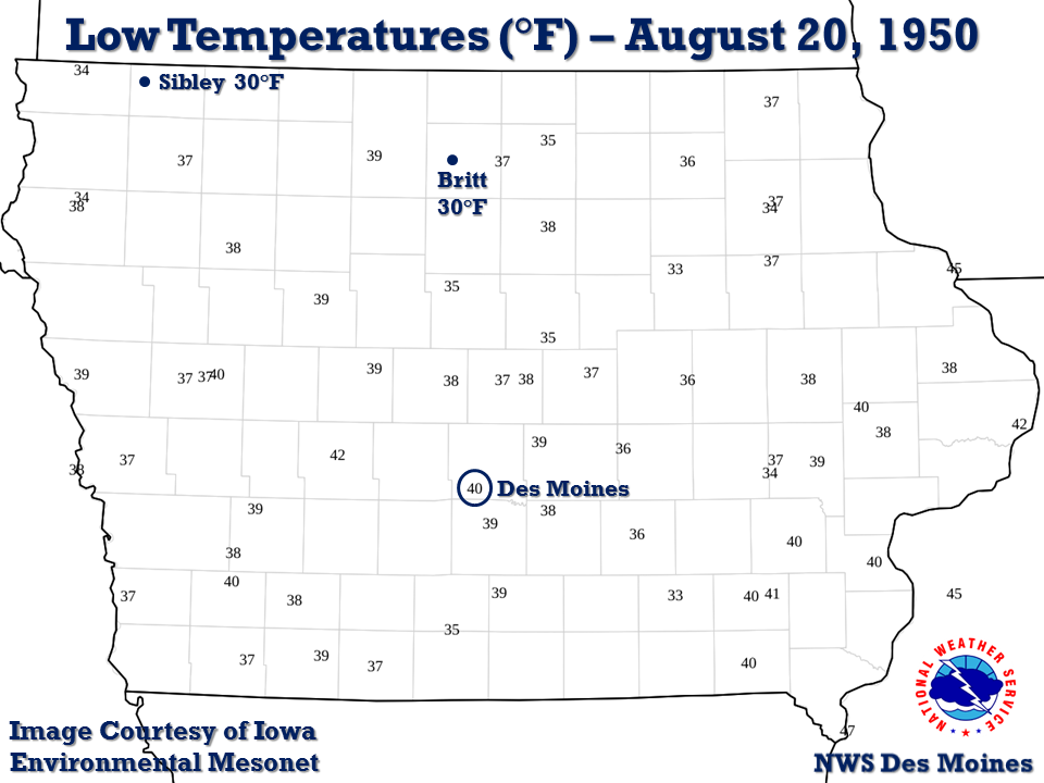 Low temperatures on the morning of August 20, 1950. Image courtesy of Iowa Environmental Mesonet.