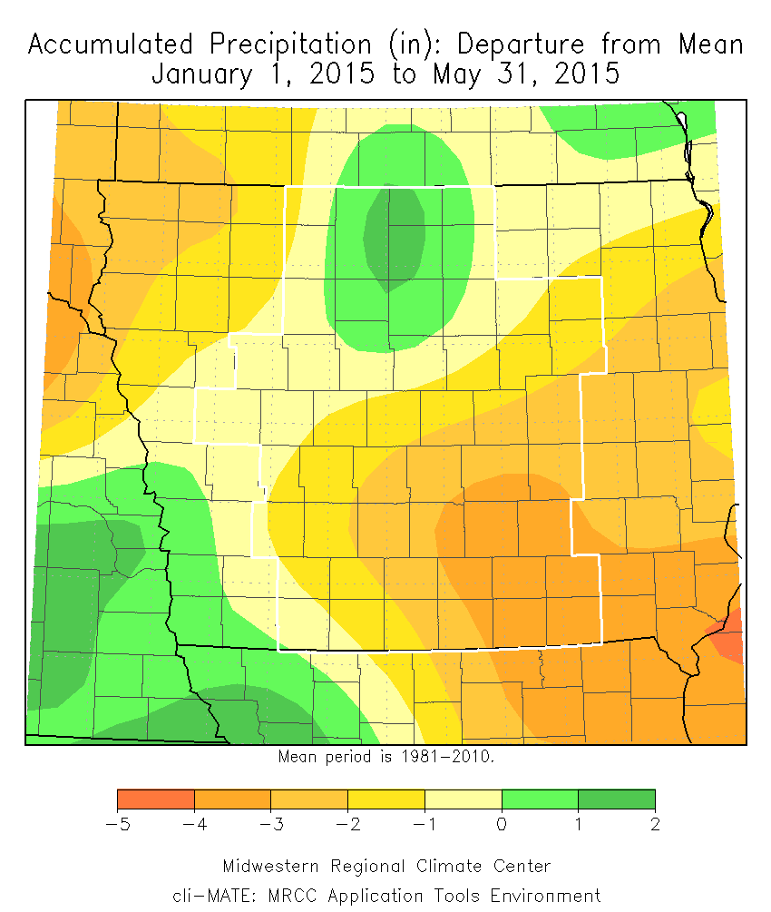 Figure 6: Year-to-Date (ending May 31, 2015) accumulated precipitation departure from mean.