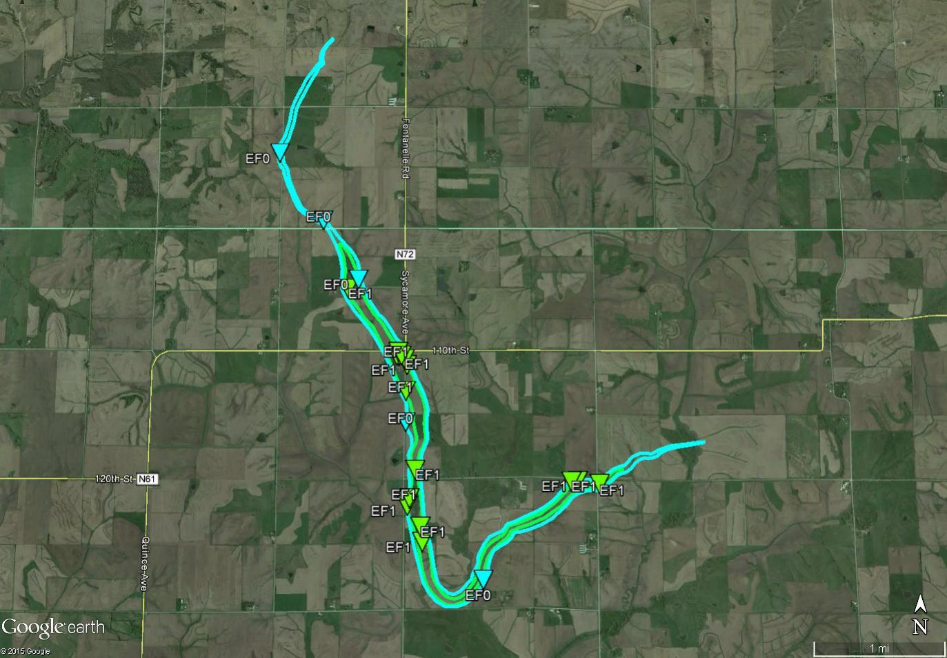 Figure 5: August 2, 2015 EF1 tornado track in Adair and Adams County.