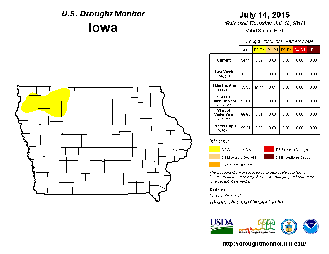 Figure 9: U.S. Drought Monitor showed drought conditions creeping into northwest Iowa.
