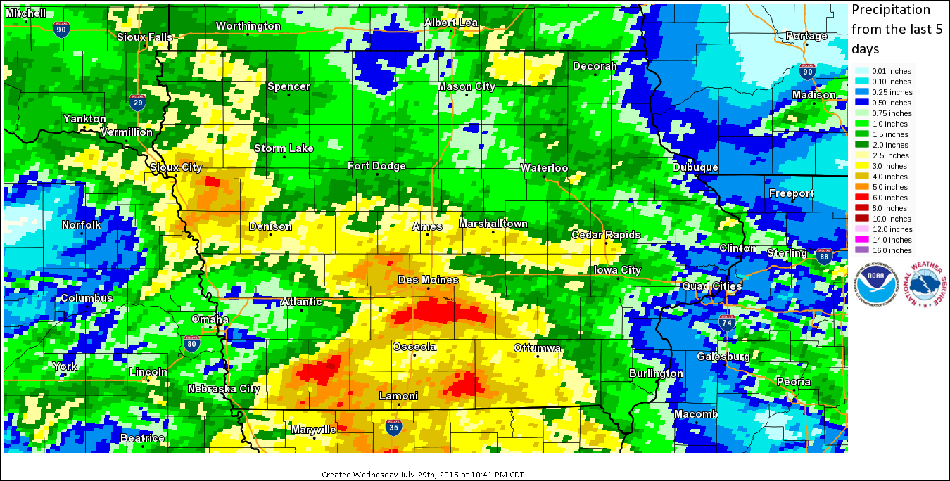Figure 12: 5-Day radar estimated precipitation ending 10:41 p.m. on July 29, 2015 where the most of the heavy rain fell over southern Iowa.