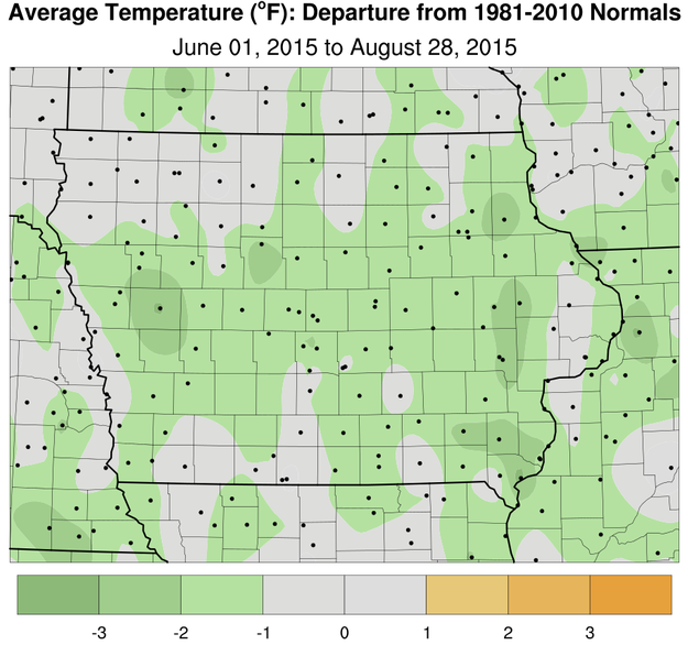 Summer temperature departure from across Iowa – generally slightly cooler than normal