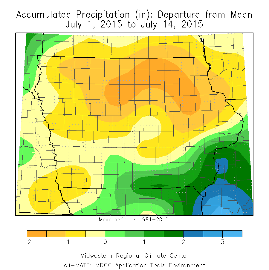 Figure 8: Accumulated Precipitation Department from Mean from July 1 to July 14, 2015.