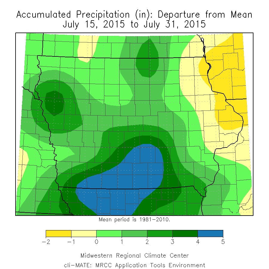 Figure 10: Accumulated Precipitation Department from Mean from July 15 to July 31, 2015.