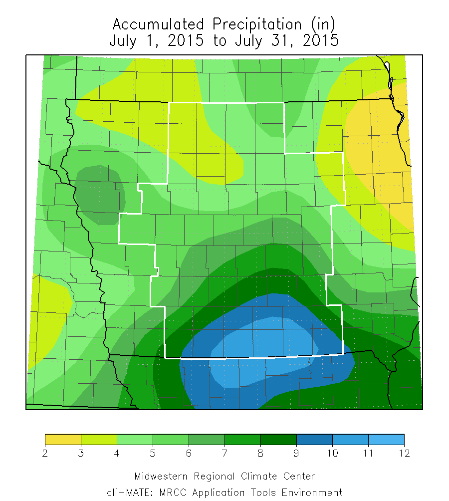 Figure 6: Accumulated Precipitation during the month of July 2015.