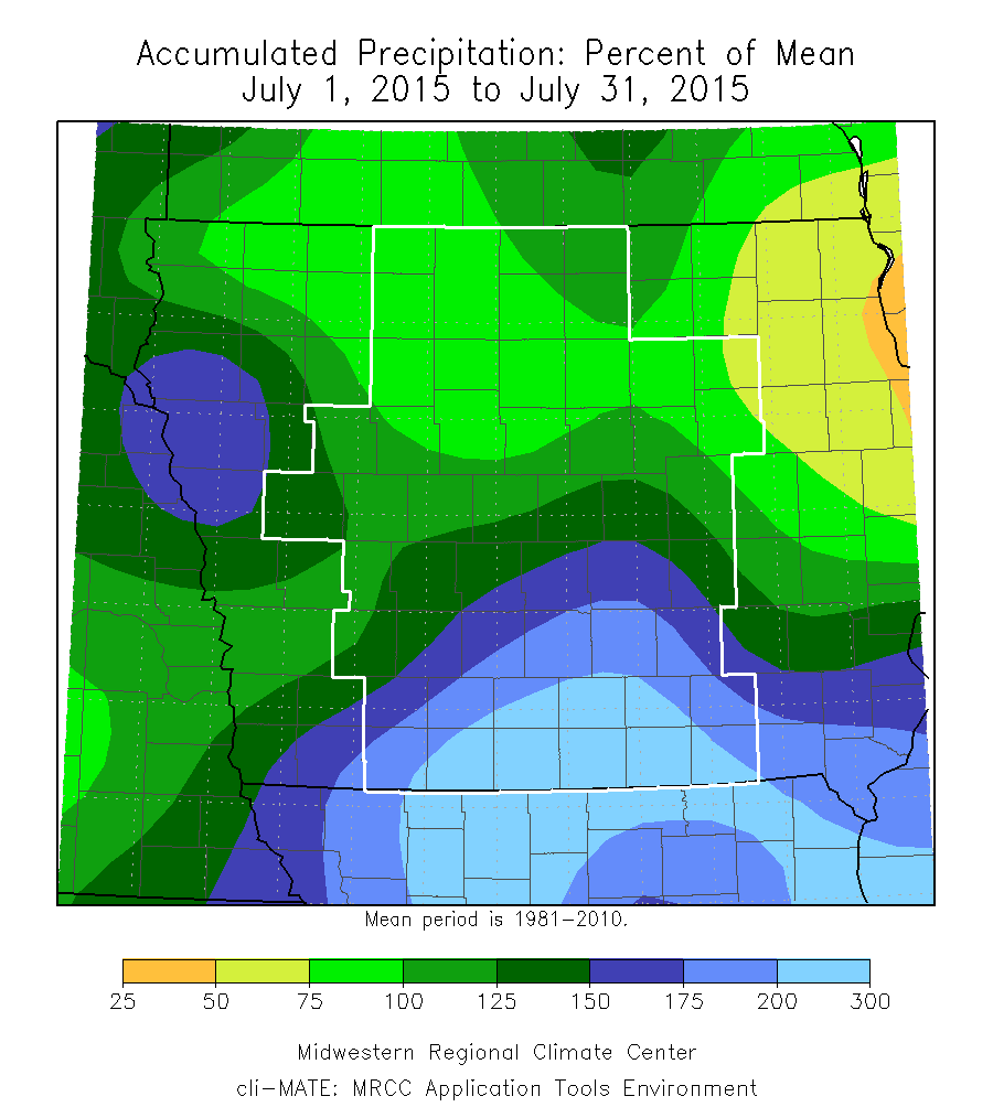 Figure 7: Accumulated Precipitation Percent of Mean during the month of July 2015. Southern received the bulk of the rainfall.